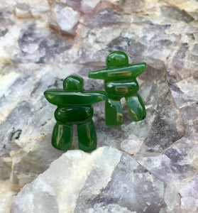 Genuine Canadian Nephrite Jade Inukshuk Stud Earrings