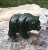 Nephrite Jade Carved Bear with Rhodonite Fish