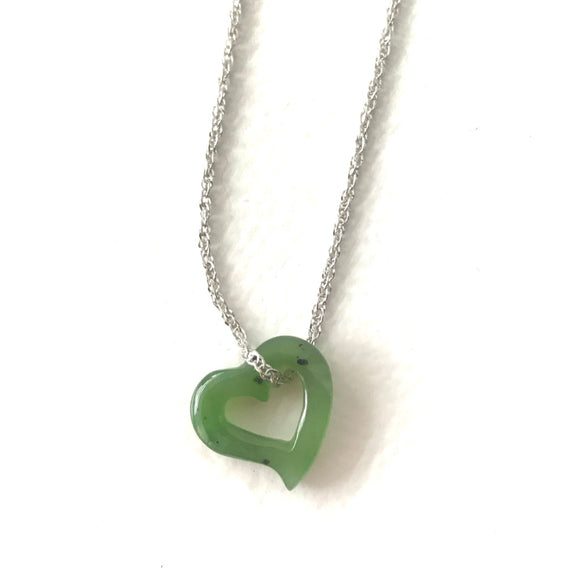 Nephrite Jade Floating Heart Charm with Optional Necklace
