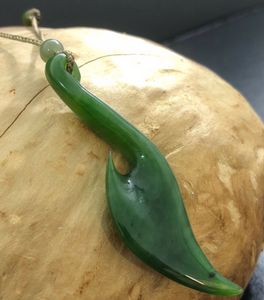 Maori Jade Fish Hook Pendant Necklace