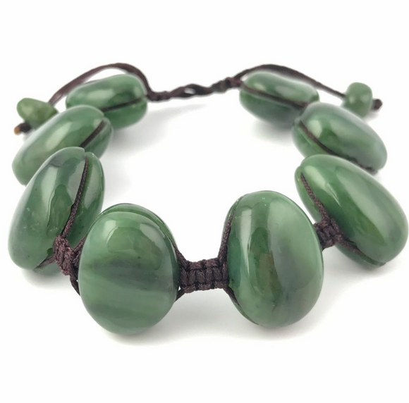 Genuine Jade Nugget Corded Bracelet
