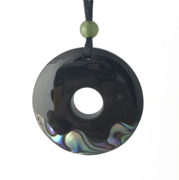 Black Australian Jade Abalone Circle Pendant Necklace