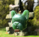 Genuine Jade French Boston Bulldog  Pendant Necklace
