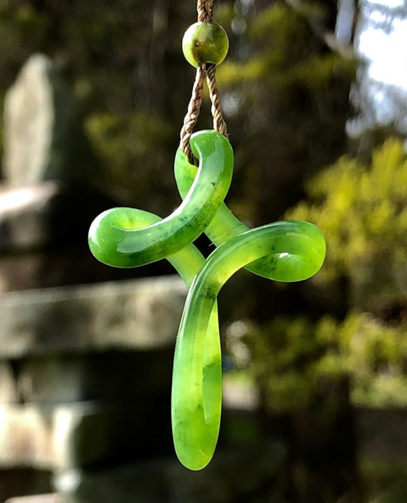 Genuine Jade Cross Pendant Necklace