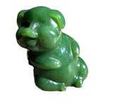 Genuine Jade Hand Carved Lucky Jolly Pig Figurine Statue