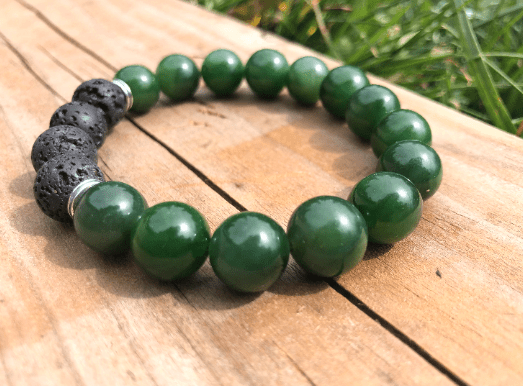 12mm A Grade Canadian Nephrite Jade and Lava Power Bead Bracelet