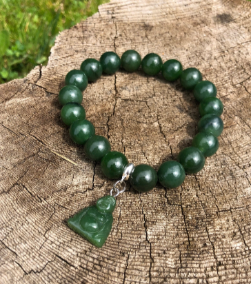 Canadian Nephrite Jade 10mm Bead Bracelet with Happy Jade Buddha Charm