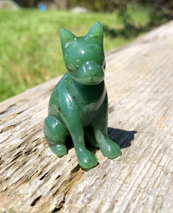 Nephrite Jade Boston Terrier French Bulldog Carving Figurine Statue