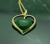Sterling Silver & Nephrite Jade Heart Pendant with Necklace