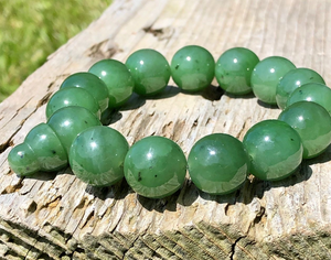 Canadian Nephrite Jade 14mm Bead Mala Power Bracelet