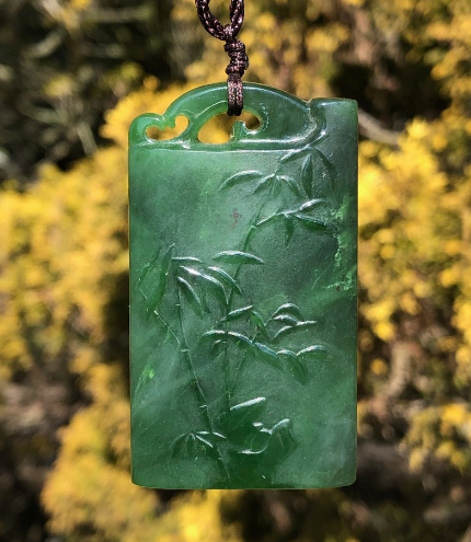 Canadian Nephrite Jade 3 Stock Bamboo Pendant Necklace