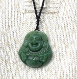 Grade A Nephrite Jade Happy Laughing Buddha Pendant Necklace