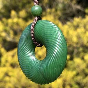 Canadian Nephrite Jade Spiral Pi (Donut) Twisted Pendant Necklace