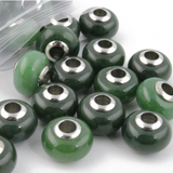 Canadian Nephrite Jade Beads Stainless Steel Center Charm 14 x 7.5mCanadian Nephrite Jade Bead Charm Stainless Steel Center 14 x 7.5mm
