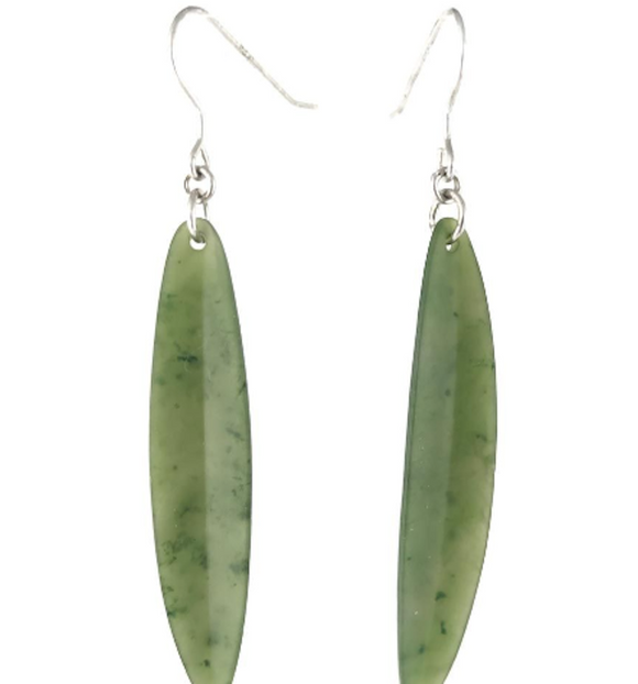 Canadian Nephrite Jade Long Leaf Earrings