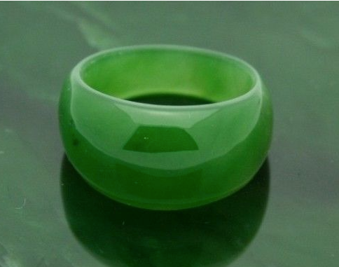 Genuine Canadian Nephrite Green Jade Dome Band Ring