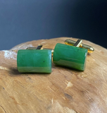 Genuine Rectangle Canadian Nephrite Jade Cufflinks