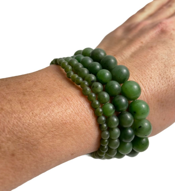 Canadian Nephrite Jade Satin Mala Power Bead Bracelets ~ Multi Sizes