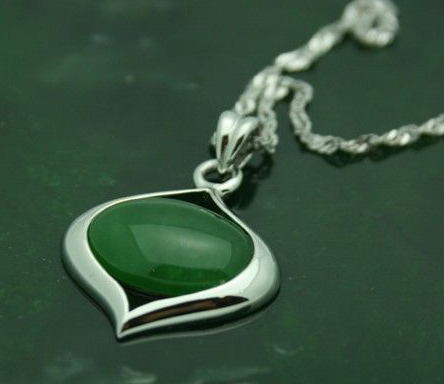 Canadian Nephrite Jade Oblong Pendant Necklace
