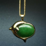 Canadian Nephrite Jade Dolphin Pendant Necklace