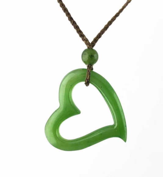 Genuine Jade Carved Floating Heart Pendant Necklace