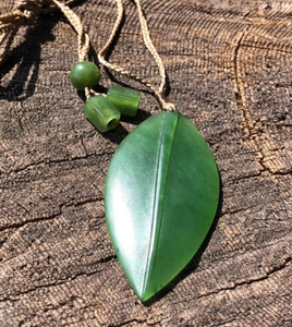 Genuine Jade Leaf Pendant Necklace