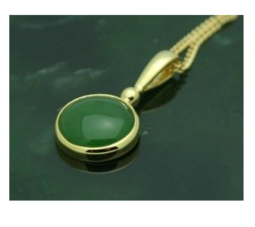 Jade Cabochon Pendant Gold Vermeil Necklace