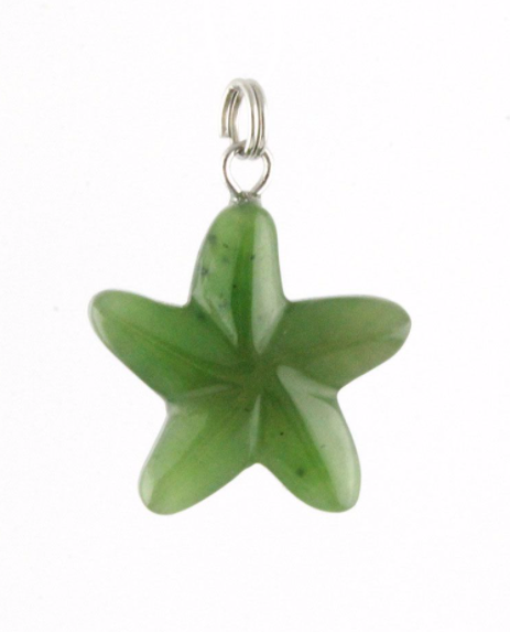 Genuine Jade Star Fish Pendant Necklace