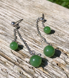 Jade Bead Dangle Earrings