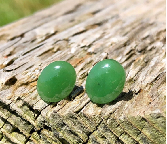 Oval Dome Jade Stud Earrings