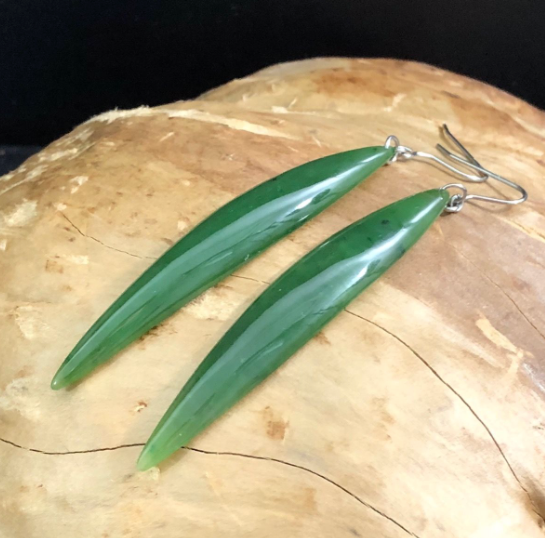 Genuine Jade Long Leaf Earrings