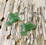 Genuine Jade Hummingbird Earrings