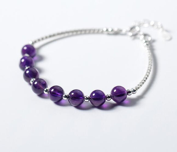 Amethyst Beaded and Sterling Silver Chain Bracelet Jewelry