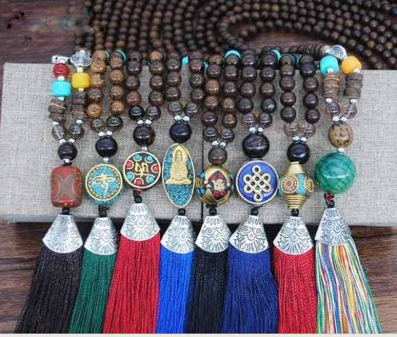 Bohemian Nepal Tassel Necklace Mala Women Jewelry