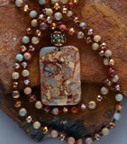 Boho Crystal Semi-Precious Stone Pendant Necklace Jewelry
