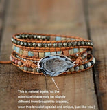 Boho Leather Natural Druzy Stones Multilayers Wrap Bracelet Jewelry