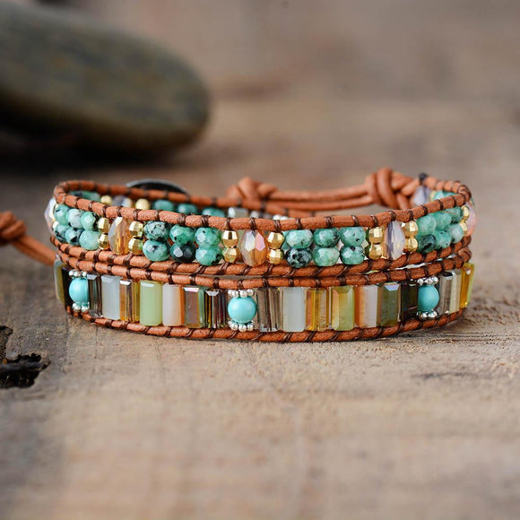 Boho Semi Precious Stone Crystals Leather Wrap Bracelet Jewelry