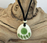 Bone & Nephrite Jade Bear Paw Pendant with Cord Necklace Canadian Jade
