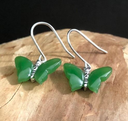 Butterfly Earrings Nephrite Jade Women Canadian Jade