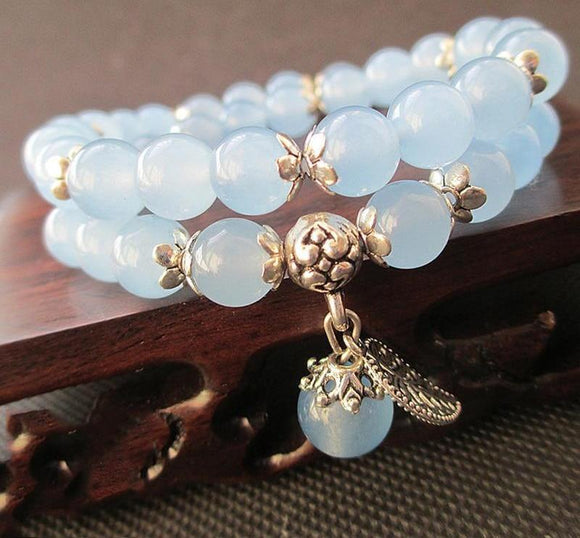 Chalcedony Blue Crystal Bracelet with Leaf Pendant Women Jewelry