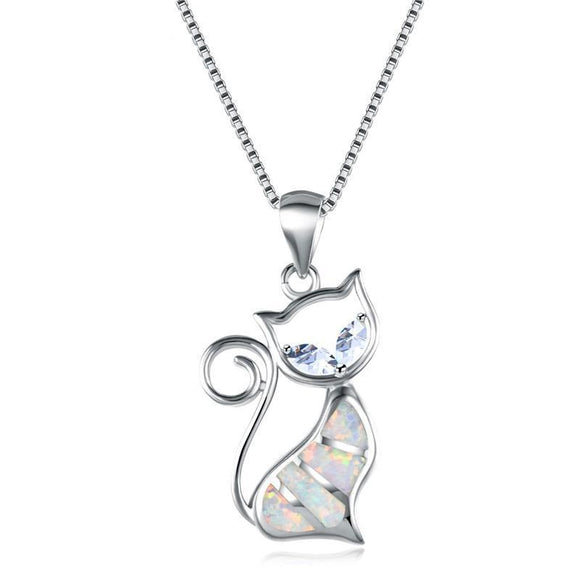 Cute White Fire Opal Cat with White or Blue Zircon Eyes Necklaces Jewelry