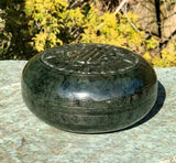 Dark Nephrite Jade Covered Bowl Canadian Jade