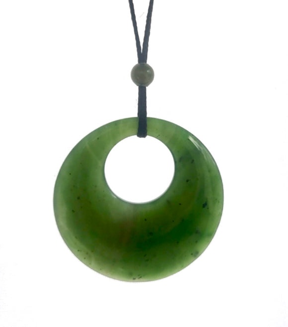 Nephrite Jade Circle of Life Pendant with Adjustable Cord