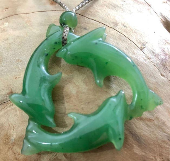 Genuine Nephrite Jade Dolphin Pendant Necklace