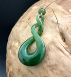 Double Infinity Twist Nephrite Jade Pendant with Adjustable Necklace Canadian Jade