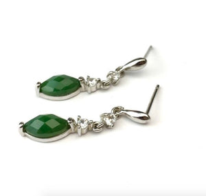 Drop Earrings with CZ and Nephrite Jade Women Canadian Jade