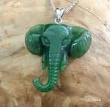 Elephant Nephrite Jade Pendant with Optional Sterling Necklace Canadian Jade