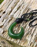 Fish Hook Pendant Nephrite Jade with Adjustable Necklace Canadian Jade