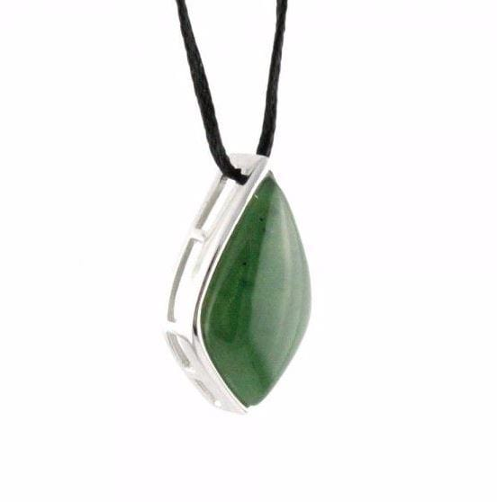 Genuine Jade Drop Pendant Sterling Silver Necklace Canadian Jade