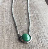 Genuine Jade Oval Drop Pendant Necklace Canadian Jade
